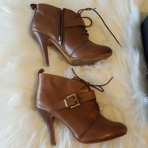 Aldo tan leather ankle booties